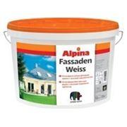 Атмосферостойкая фасадная краска с высокой укрывистостью. Alpina FASSADENWEISS B3 4,7l фото