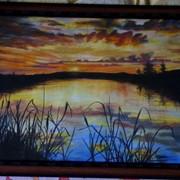 Закат у озера фото
