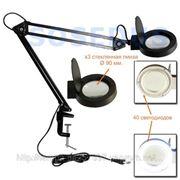 Настольная лампа увеличительное стекло (линза, лупа), светодиодная, пантограф. фото