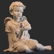 Скульптура ангела с воробушком фото