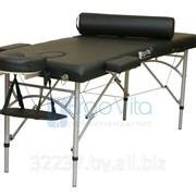 Складной массажный стол алюминиевый ErgoVita MASTER 67см + валик в съемной сумке (2-х секц,черный) фото