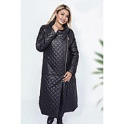 Длинное стеганное пальто женское в ромб НВ/-1690/1 фото