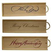 Подарочные деревянные коробки со сдвижной крышкой для презентации упаковки винных и коньячных бутылок обуви кофе чая меда презентов. Материал-сосна.Есть возможность нанесения логотипов. фото