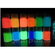 Краска флуорисцентная люминофор светящаяся голубая зеленая желтая с лаком пигмент светонакопительный порошок фото