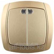 Выключатель Светозар Акцент двухклавишный в сборе, с подсветкой, цвет золотой металлик, 10А/~250В Код:SV-54235-GM фото