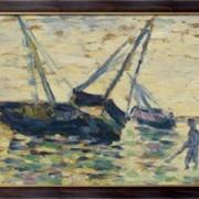 Картина Три лодки в море, 1885, Сёра, Жорж-Пьер фото