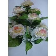 Цветок искусственный 12 цветков розы блестящие Арт.055-9 фото