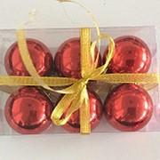 """Набор елочных шаров """"Зеркальный шёлк"""", 6 шт, 6 см, красные глянц., (MILAND) фото"""