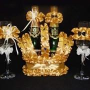 Украшение элитное для шампанского для оформления свадьбы и стола молодоженов фото