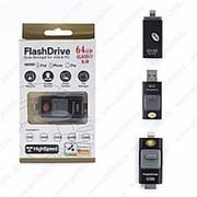 Флешка FlashDrive с двумя USB портами 64GB (lightning) Черный фото