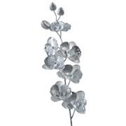 Декор Орхидея из шелка серебр. с блеском 78см фото