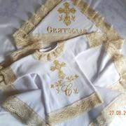 Крестильный набор для Святослава с вязаным кружевом фото