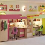 Детская комната Легенда 14 с полками венге светлый/розовый/лайм фото