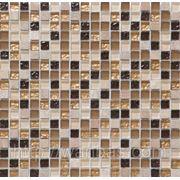 Мраморная мозаика с добавлением стеклянного кубика DAF 4 фото