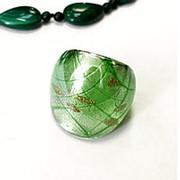Кольцо Муранское стекло, зелёный, р16-17 фото