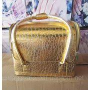 Бьюти Кейс для косметики. Цвет - золото. Размеры 30х26х23 фото