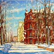 Картина маслом на холсте с видом Минска, городской пейзаж фото