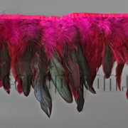 Перо-юбка малиновая с черными хвостиками 15-20см/48-50см 570823 фото