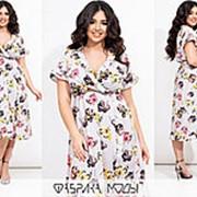 Легкое платье женское с имитацией запаха (2 цвета) ЮГ/-1436 - Серый фото