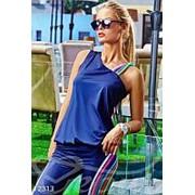 Спортивный костюм женский ассиметричный (2 цвета)- Темно-синий LC/-158 фото