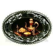 Печать на тарелках металлических овальной формы фото