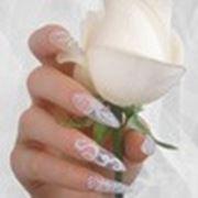 Свадебные и вечерние наращивание, ногти по персональному дизайну фото