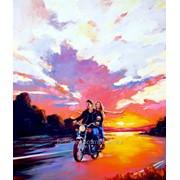 Свободный полет, картина маслом в стиле мотоцикл арт фото