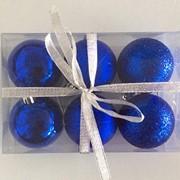 """Набор елочных шаров """"Шелк, бархат, люрекс"""", 6 шт, 6 см, синие, (MILAND) фото"""