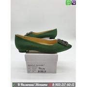 Балетки Мanolo Blahnik Маноло Бланик зеленые с пряжкой фото