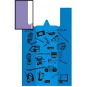 """Пакет """"Майка"""" (Техника) с ручками ПНД 43+18смx67см ,18 мк, синий фото"""