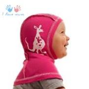 Шлем детский трикотажный розовый фото