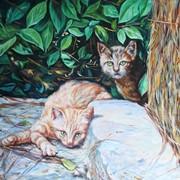 """Картина """"коты в саду"""" фото"""