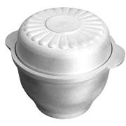 Казан кухонно-печной 0,5 л округлой формы с двумя литыми ручками и крышкой-тарелкой фото