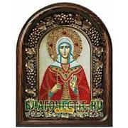 Золотошвейные мастерские, Дивеево Лидия, святая мученица, дивеевская икона ручной работы из бисера Высота иконы 17 см фото
