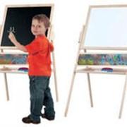Доска для рисования двухсторонняя МАГНИТНАЯ . высота - 105 см, ширина 67 см. набор мелки,маркер,губки. Польша. фото