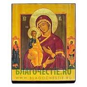 Мастерская старинной иконы Троеручица Богородица (с клеймами), копия старой иконы, печать на дереве Высота иконы 13 см фото