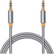 Аудио кабель штекер-штекер 3.5 мм, Jet-A JA-AC02, в оплётке, металлический разъём, позолота, серый - 1 метр фото
