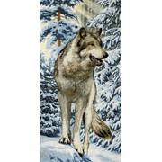 """Гобелен """"Волк зимой"""" 40х80см фото"""
