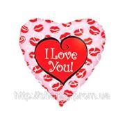 Фольгированные сердца с гелием «Я тебя люблю, губки» фото