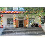 Гирлянда и цветы для оформления школы. фото