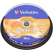 Оптический диск DVD-R 4.7 Гб Verbatim в тубе 10шт. фото