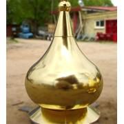 Золочение купола храма сусальным золотом, позолота куполов. фото