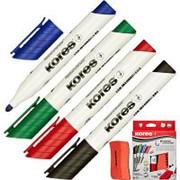 Набор маркеров для досок KORES с губкой 3мм 4шт/уп '20863 фото