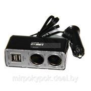 Разветвитель прикуривателя ACTIVcar ACT-WF-0030 чёрныq (2 выхода +2 USB). фото