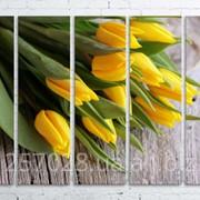 Модульна картина на полотні Жовті тюльпани код КМ100150(150)-137 фото