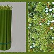 Свеча восковая №100 зеленая с ароматом можжевельника фото
