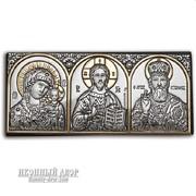 Икона трех святых - аккуратная автомобильная икона с серебром Код товара: EK0XBG фото