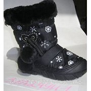 Сапоги зимние дутики 25 Черные фото
