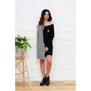 Женское стильное черно-белое платье-миди фото