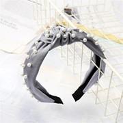 Ободок с узлом - Жемчужный, цвет в ассортименте, серый фото